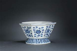 CHINESE BLUE AND WHITE FLORAL HEXAGONAL JARDINIERE