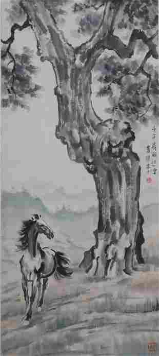 CHINESE AND HORSE PAINTING SCROLL XU BEIHONG MARK