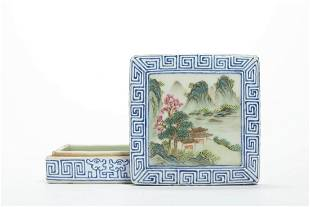 CHINESE FAMILLE ROSE SQUARE COVER BOX