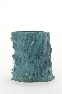 CHINESE PEACOCK BLUE GLAZE BRUSH POT