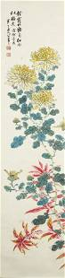 CHINESE FLOWER PAINTING SCROLL ON PAPER, CHEN BANDING