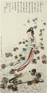 CHINESE LADY PAINTING ON PAPER, FU BAOSHI MARK