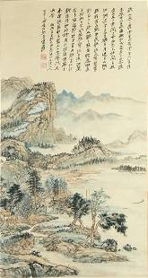 CHINESE LANDSCAPE PAINTING SCROLL ON PAPER, ZHANG