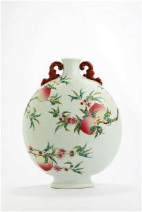 CHINESE FAMILLE ROSE PEACH MOON FLASK