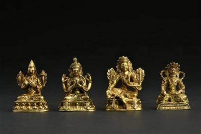 CHINESE SET OF FOUR GILT BRONZE BUDDHA STATUES