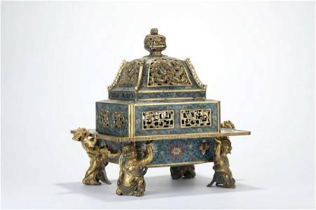 CHINESE CLOISONNE ENAMEL FIGURAL CENSER