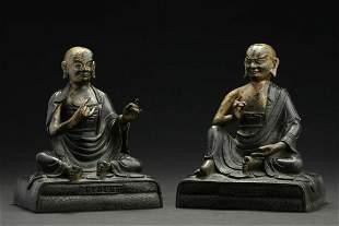 CHINESE PAIR OF FIGURE STATUE OF BODHIDHARMA