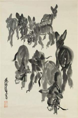 CHINESE DONKEY GROUP PAINTING PAPER SCROLL, HUANG ZHOU