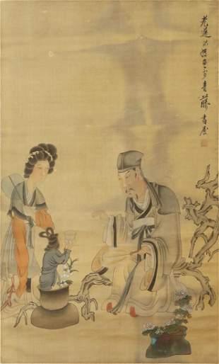 CHINESE FIGURE PAINTING SILK SCROLL, CHEN HONGSHOU MARK