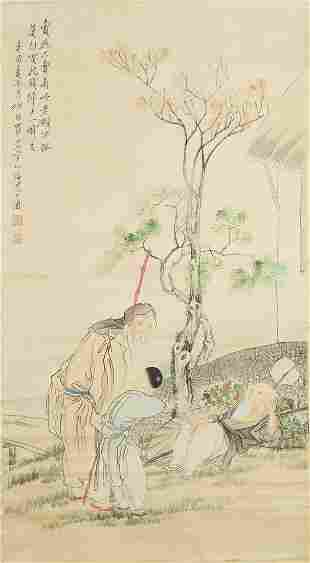 CHINESE FIGURE PAINTING PAPER SCROLL, SHEN ZHAOHAN MARK