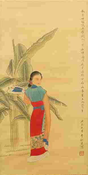 CHINESE LADY PAINTING SILK SCROLL, LI QIUJUN MARK