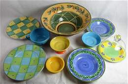 Hand Painted Stoneware Pottery Assortment