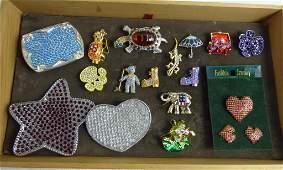 Rhinestone Costume Jewelry Brooch/ Pin Assortment