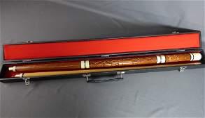 Wood Carved Billiard Pool Cue Stick w/ Case