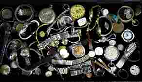 Group of Wrist Watches, Pocket Watches & Parts