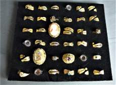 Groupof Vintage Costume Jewelry Fashion Rings