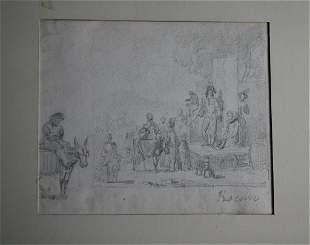 Adolphe Eugene Gabriel Roehn Original Drawing Art