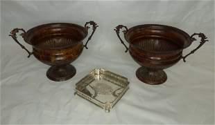 Vintage Metal Handled Vases/ Urns & Footed Tray