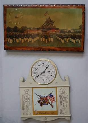 Two American Patriotic Wall Clocks