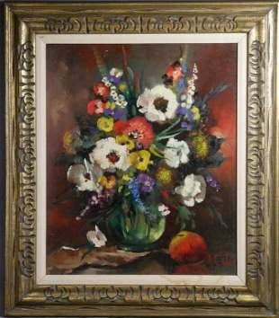 R. Faber Floral Still Life Oil on Canvas Painting