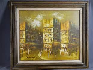 European City Scene Oil on Canvas Painting