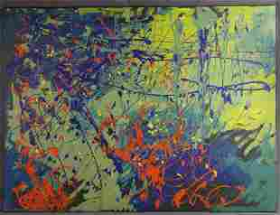Abstract Oil Painting in style of Jackson Pollock