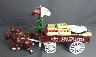 Vintage Fresh Fruits Cast Iron Horse Drawn Wagon T
