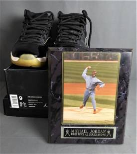 Air Jordan 11 Retro Shoes & Baseball Plaque