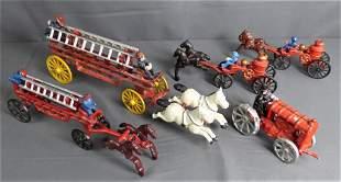 Vintage Cast Iron Fireman Horse Drawn Wagon Toys