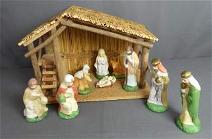 Vintage Christmas Nativity Set with Stable