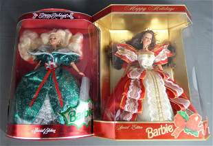 """Two """"Happy Holidays"""" Special Edition Barbie Dolls"""
