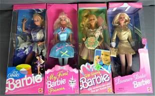 4 Vintage Barbie Dolls in Original Boxes