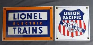 Union Pacific & Lionel Trains Porcelain Signs