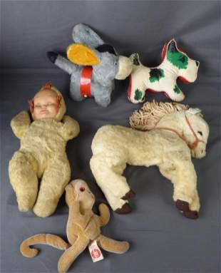 1960's Vintage Plush Toys- Horse, Donkey, Baby