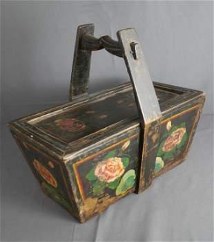 Antique Chinese Wood Beery/ Fruit Basket