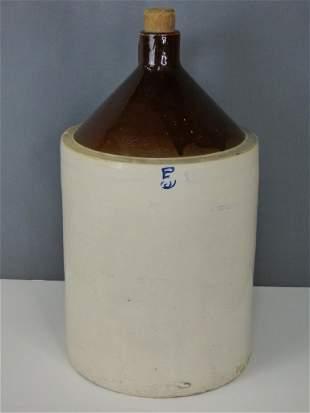 Antique Glazed Stoneware 5 Gallon Jar/ Crock