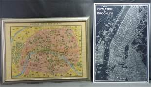 Two Vintage Maps Decor Wall Art- New York & Paris