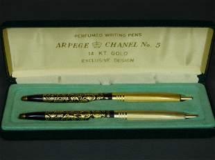 Arpege Chanel No. 5 Writing Pen Set 14k Gold Platd