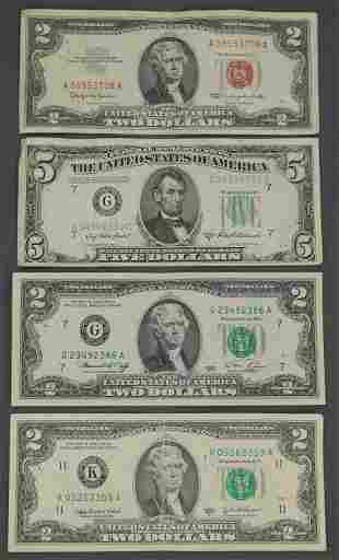 US Two and Five Dollar Bills 1950, 1953 Currency