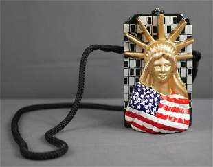 Timmy Woods Statue of Liberty Carved Wood Handbag