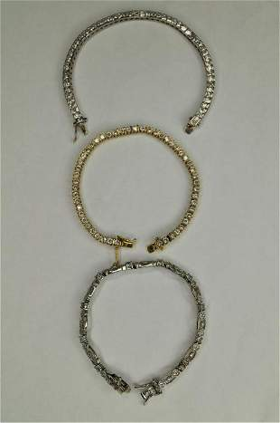 Costume Jewelry Bracelets with Stones marked 925