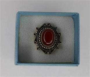 Fashion Lady Ring with Red Stone marked 925