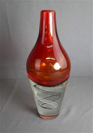 Artist Signed Red Ruby Art Vase w/ swirl bottom