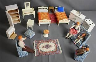 Vintage Caco German Dollhouse Dolls & Furniture