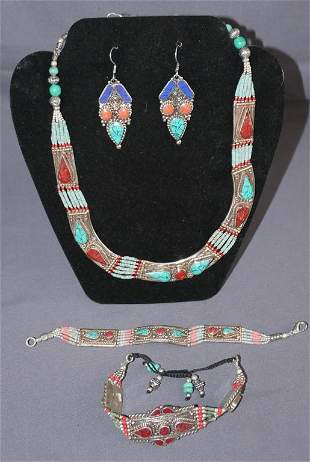 Costume Jewelry w/ Turquoise and Corals marked 925