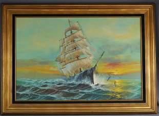 Preston Willis Sailing Ship Oil Painting on Canvas