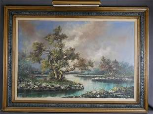 Large Landscape with River Oil Painting on Canvas