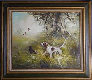 Pointer Dog Hunting OIl Painting on Canvas