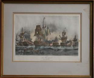 Henri Durand-Brager Sea Battle Colored Lithograph
