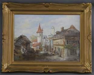 Antique European Village Scene Oil Painting